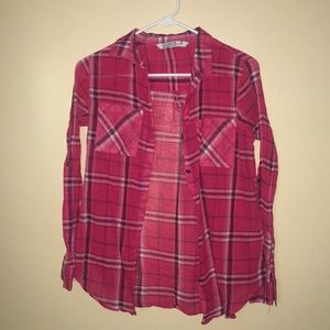 Cotton On Pink Plaid Long Sleeve Button Up